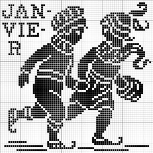 Month 01   Free chart for cross-stitch, filet crochet   Chart for pattern - Gráfico