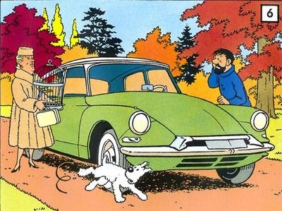 Citroen DS in Tintin with the famous Castafiore, Captain Haddock and Milou names in french