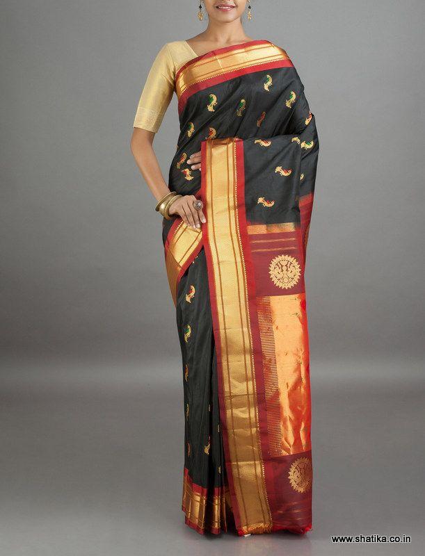 Mamta Royal Peacock Motifs Pure Zari #PaithaniSilkSaree