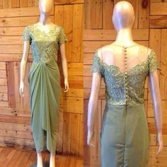 Kebaya dress for my best friend wedding. Mint drapery dress