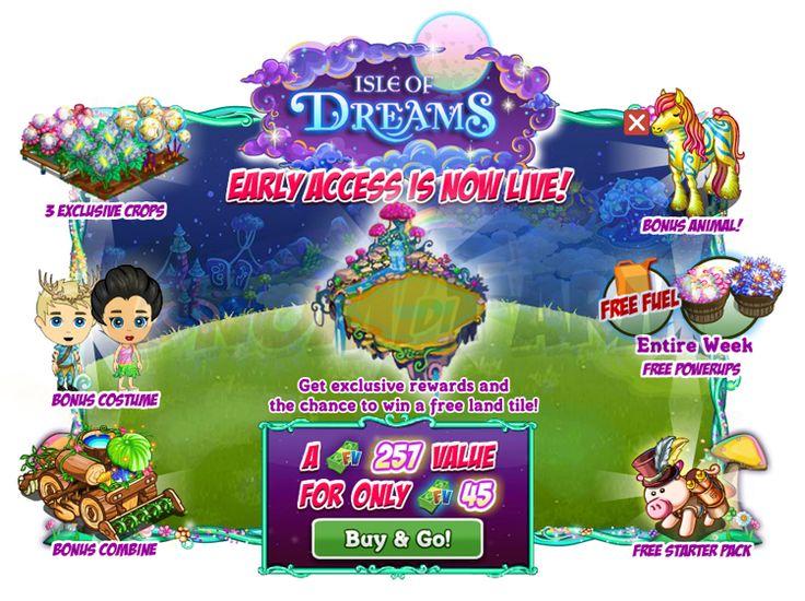 Isle of Dreams: Early Access tempo stimato per la lettura di questo articolo 1 minuti  Si torna in un mondo fatato; con la farm Isle Of Dreams ritornano nelle nostre farm folletti fate e chi più ne ha ne metti. Una settimana di anticipo rispetto al solito (dopo soli 42 giorni invece dei normali 49) ecco uscire la nuova farm Isle Of Dreams!    Vediamo cosa ci attende:  La farm Isle of Dreams inizierà in Early Access (a pagamento) il 29 Maggio2017! Sarà invece rilasciata gratuitamente come al…