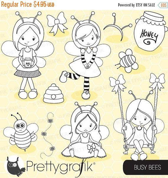 80% OFF SALE Honey bee girls digital stamp commercial use, vector graphics, digital stamp, digital images - DS671 by Prettygrafikdesign on Etsy https://www.etsy.com/uk/listing/190607888/80-off-sale-honey-bee-girls-digital