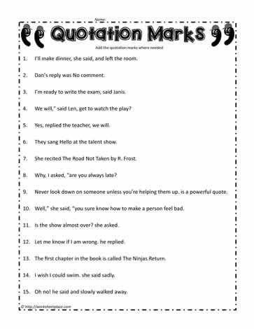 Quotation Mark Worksheet | softboard | Pinterest | Quotation marks ...