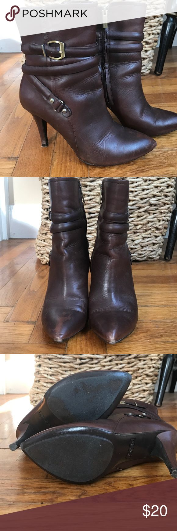 Circa Joan David Brown Heeled Boots Brown boots in good condition, slight wear to toes shown in picture. Gold buckle details. Looks great with a good pair of skinny jeans! circa joan david Shoes Heeled Boots