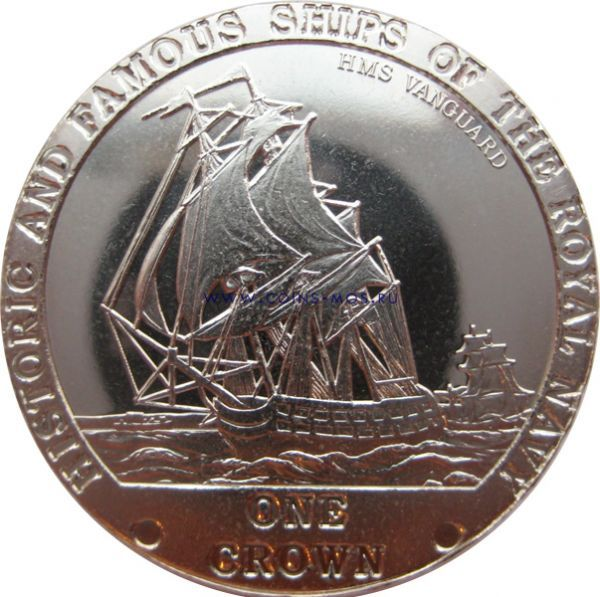Тристан-да-Кунья. Знаменитые корабли Королевского флота «VANGUARD» 1 крона 2008 г.