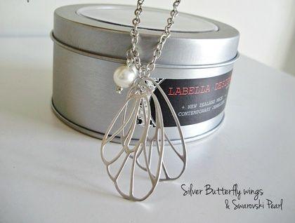 ~*Swarovski Pearl and Delicate Butterfly Wings*~ | Felt