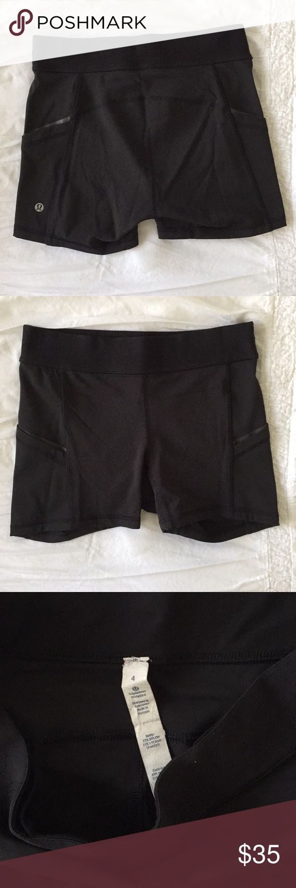 Black Lululemon Shorts Super comfortable and cute black Lululemon shorts with two side pockets. Size 4. I'm a size 2-4 in lulus and these fit perfectly. Lululemon athletica and login on waistband and Lululemon stamp on the back. Gently worn. lululemon athletica Shorts