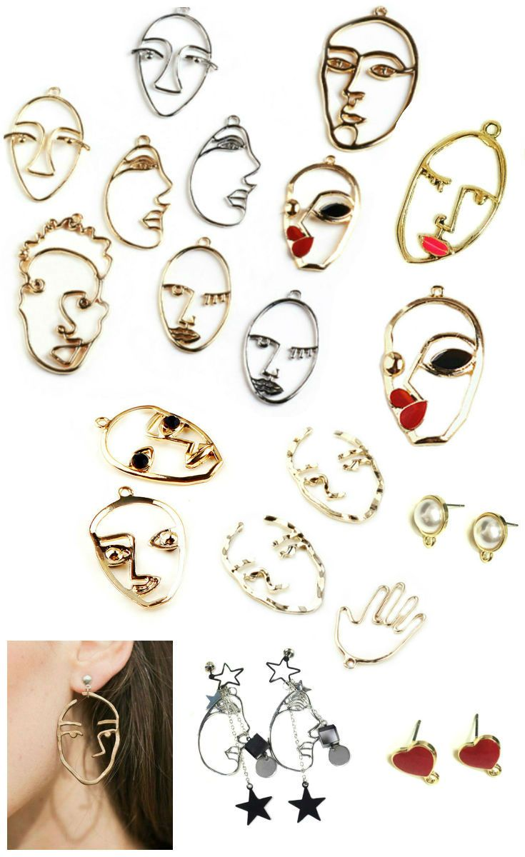 9ea5a071d DIY Earrings Abstract Picasso face, modernist Charms Face, Jewelry Making  for necklaces, choker face Earrings Stud Earring Findings in 2019 | DIY  SUPPLIES ...
