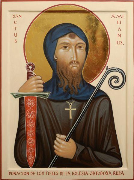 Commission contemporary christian Icon of Saint Emilianus (San Millan) de la Cogolla (patron of Castiglia)