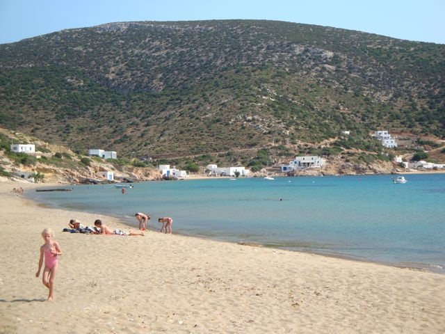 Vathi Beach in Sifnos, where much of the action in Ring of Fire takes place.