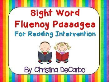 """Sight Word Fluency Passages For Reading Intervention (grades 1-3).  This reading intervention packet contains *55* fluency passages that are JAM-PACKED with sight words. Each passage focuses on 4 """"target"""" sight words. Implementing the intervention is EASY"""