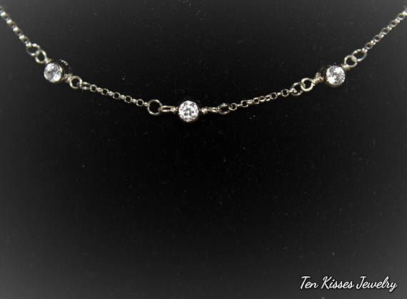 Check out this item in my Etsy shop https://www.etsy.com/ca/listing/579371053/silver-cubic-zirconia-necklace-sterling