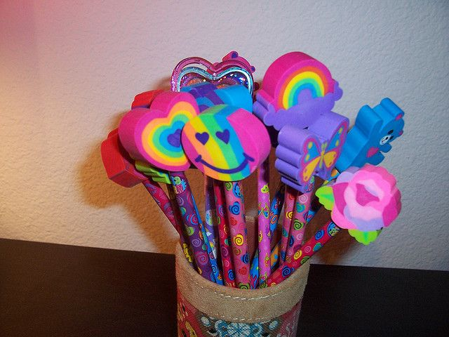 lisa frank pencils #90s!!!!!! With the erasers you never wanted to use cuz it would mess them up LOL