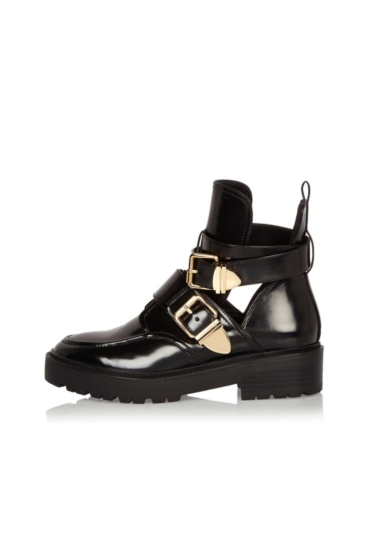 Checkout this Black patent cut-out boots from River Island