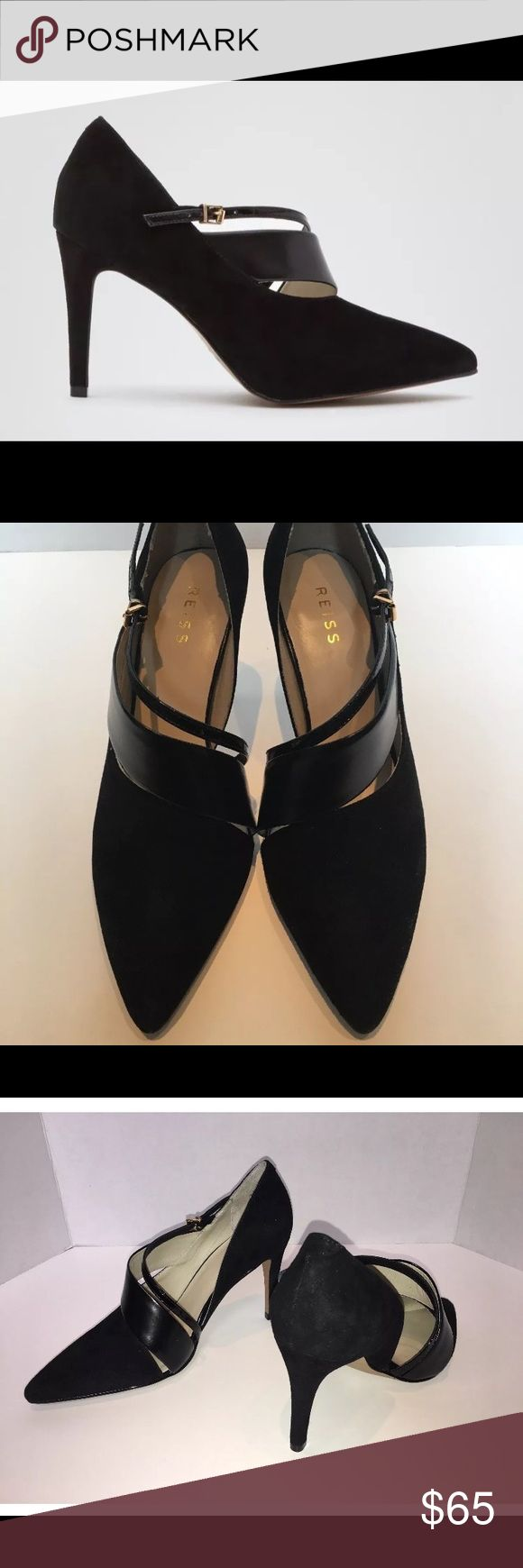 NEW WITH BOX REISS BLACK SUEDE HIGH HEELS!! Double asymmetric straps. Also comes with shoe bag (shown in photos) for extra storage protection.  Condition: New, never been worn  Size: 38 EU, 7 US, 5 UK  Style Code & Name: 853013, JADE   Heel height: 3.5 inches Reiss Shoes Heels