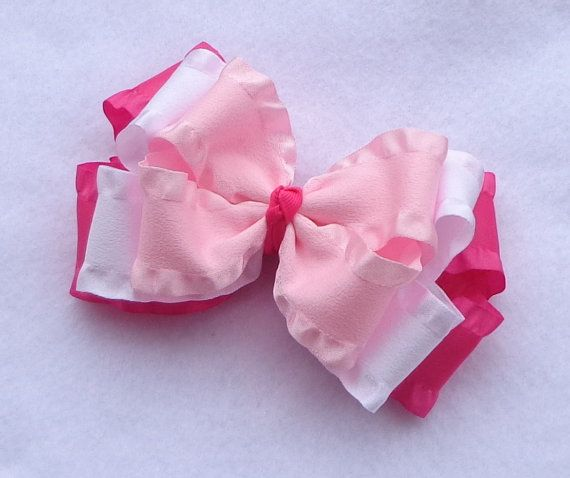 Easter/Spring Hair Bow Boutique Bows Pink by LizzyBugsBowtique