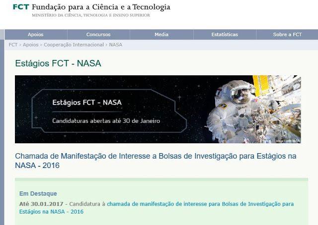 Estágios FCT  NASA  Bolsas de Investigação para Estágios na NASA  until 30 JAN 2017