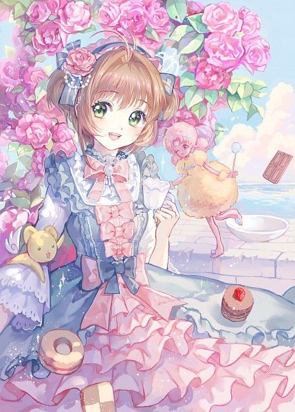 Tags: Anime, Pixiv Id 2583663, Cardcaptor Sakura, Kinomoto Sakura, Sweet Card, Kero-chan, Sparkles