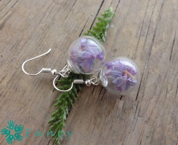 Botanical dangle earrings  real dried by FancyHandmadeArmenia
