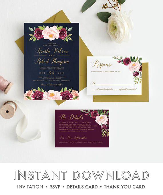 Fall Wedding Invitations #ad - Printable Marsala Wedding Invitation Template, Inv…