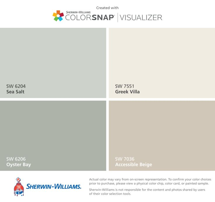 I found these colors with ColorSnap® Visualizer for iPhone by Sherwin-Williams: Sea Salt (SW 6204), Oyster Bay (SW 6206), Greek Villa (SW 7551), Accessible Beige (SW 7036).