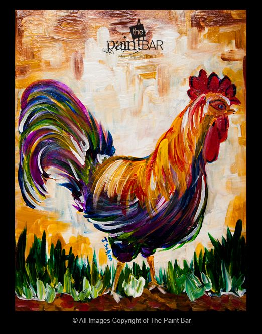 Funky Rooster Painting - Jackie Schon, The Paint Bar