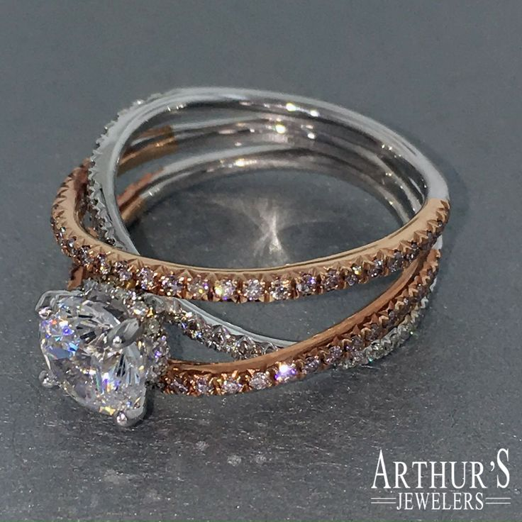 """Mark Silverstein Imagines """"Santorini"""" pave-set pink diamond engagement ring with a focus on movement and interest. Do you Like? See it now: http://www.arthursjewelers.com/product/mark-silverstein-2113-18kw-side-stone-18k---white-gold-diamond-engagement-ring"""