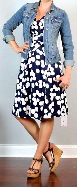 Outfit Posts: outfit post: polka-dot dress, jean jacket, wedges