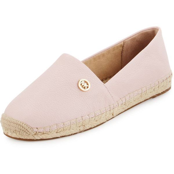 Michael Michael Kors Kendrick Leather Espadrille Flat ($95) ❤ liked on Polyvore featuring shoes, flats, blossom, espadrilles shoes, leather cap, flat cap, woven flats and espadrille flats