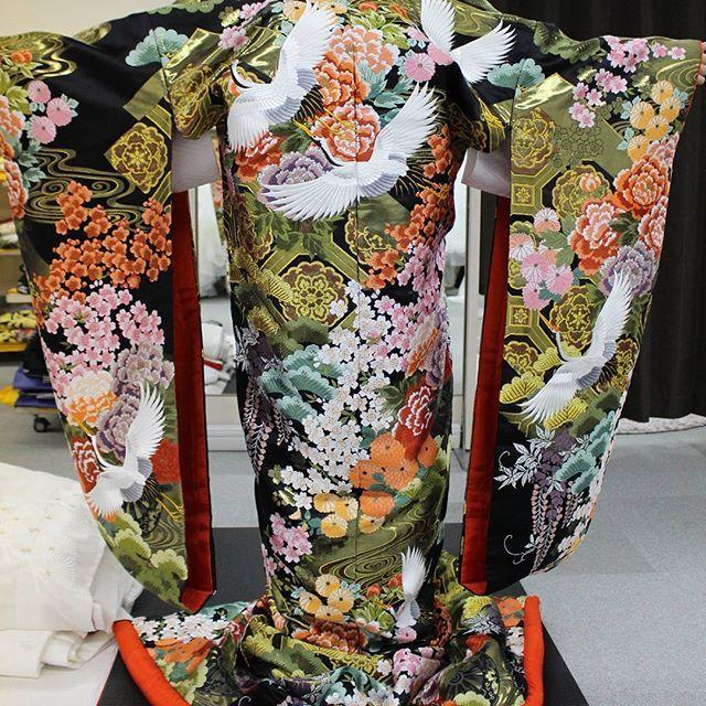【himawari.sa】さんのInstagramをピンしています。 《色打ち掛け9  こちらは黒打ち掛け! 結婚式の準備始めるまでは、色打ち掛けといえば赤のイメージでしたが、どんな色でもあるのがなんだかびっくりしました~😍 濃い色も素敵ですね🎵  #結婚式#結婚式準備#試着レポ#和装#着物#打ち掛け#色打ち掛け#色打掛 #黒#鶴#桜#菊#松#牡丹#プレ花嫁#福岡花嫁#北九州花嫁#ホテルウエディング#フォーシス#フォーシスアンドカンパニー#marry#marry花嫁 #wedding#kimono#japan》