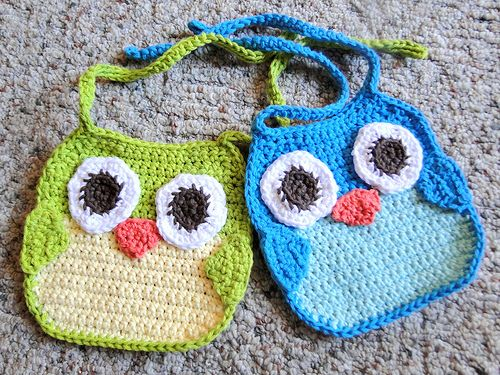 Owl Bibs by caseyplusthree using   Lion Brand Cotton-Ease Yarn  Pattern # 90157AD, Free, with noted modifications