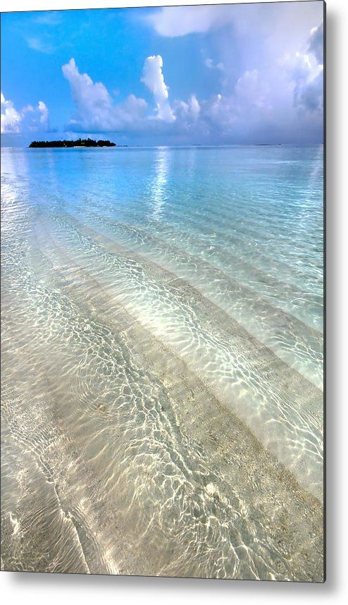 Maldives Metal Print featuring the photograph Crystal Water Of The Ocean by Jenny Rainbow  Sometimes all of us need the simple but joyful things - just to be one to one with sun, water, air and beach! To remove all the stress of the city life and absorb with every smallest body cell the sun, warm air and salty water.     It is some reminder for you that life is not only about work, gloomy weather and a bad mood, the sun is shining for you and for your pleasure too!   A Mid-Winter's Dream