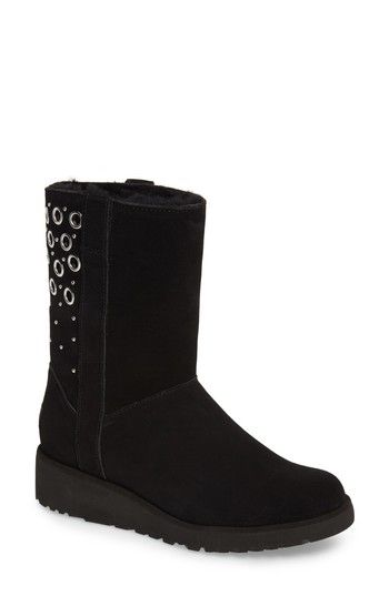 Ugg Madison Grommet Wedge Boot, Black Suede | Wedges, Black suede and Shopping