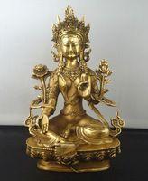 Металлические изделия тибетский буддизм меди зеленая тара бог Godness кван юн статуя будды бесплатная доставка