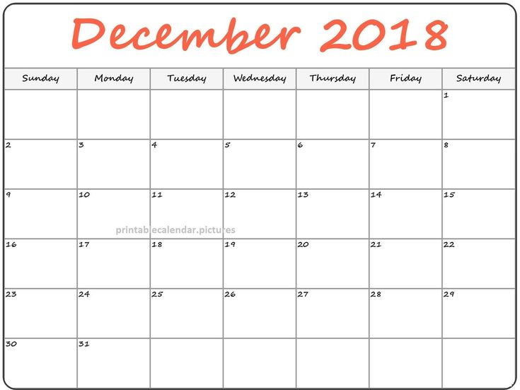 December 2018 Cute Printable Calendar For Kids December 2018