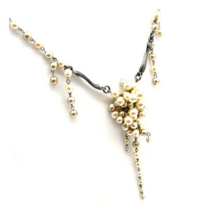 DIOR, collier perles et argent vieilli