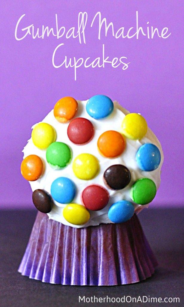 Gumball Machine Cupcakes - so cute and fun! #food #cupcakes