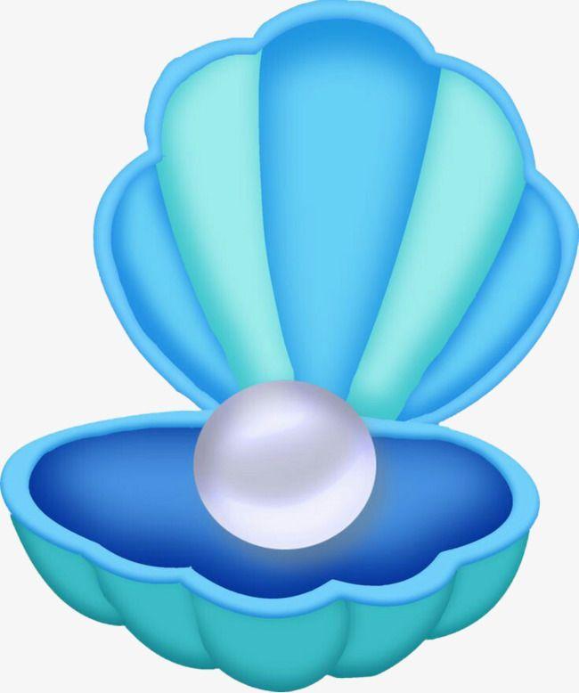 Mermaid blue. Pearl clam shells graphic