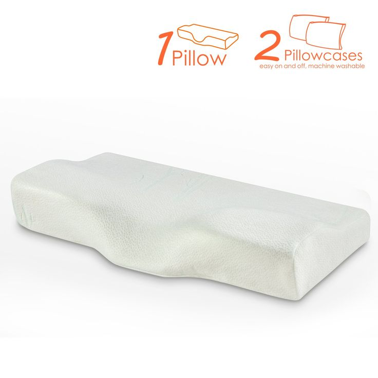 Memory Foam Pillow, NCLINGLU Ergonomic Design Cervical Contour Memory Foam Pillow with 2 Removable Covers, Neck Pain Relief for all position Sleepers-Soft