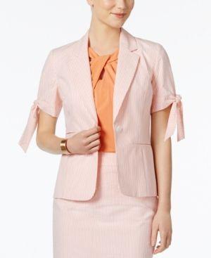 Nine West Tie-Cuff Striped Seersucker Blazer - Orange 14