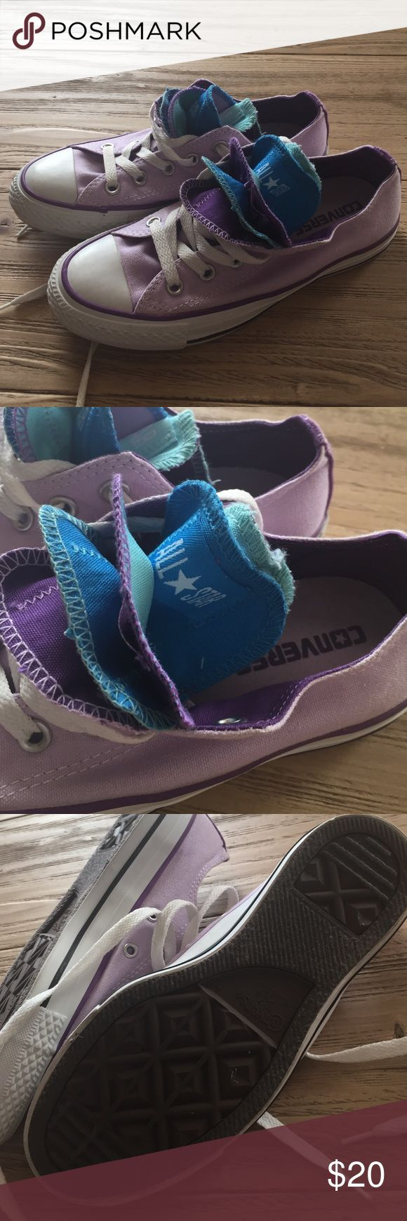 Converse ladies size 6 multi-tongue shoes Ladies Converse size 6 multi- tongue shoes. Lavender with a variety of tongue colors. Great condition. Worn a couple of times. Converse Shoes Athletic Shoes