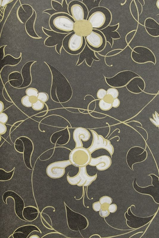 Mille Fleurs Wallpaper Intricate sprawling floral wallpaper in charcoal with white and gold design.