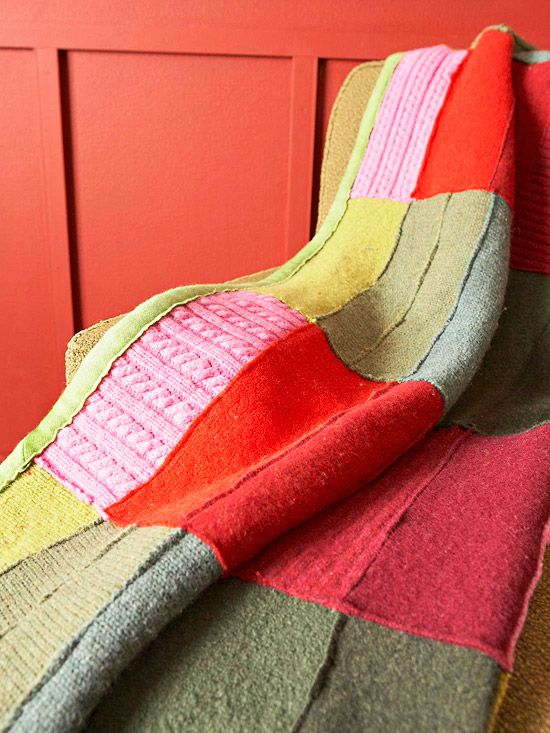 Recycled-Sweater Throw ..        Bands of red and pink alternate with a mix of earthy greens on this throw. Textural variations in the sweaters used, such as cable-knit stitches and ribbing, add interest to the solid-color rectangles. Binding helps the throw hold its shape and provides a finished edge.        Get instructions for the Sweater Throw.