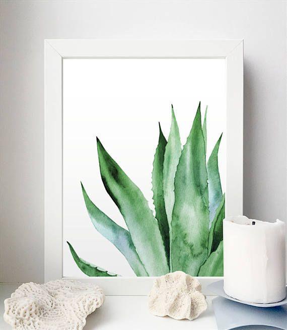 Agave Plant Art. Tropische Aquarellblätter. Blatt-botanische Kunstwerke. Bedruckbare Plakate. ARTbyASolo Illustrationen. Green Office Wall Decor