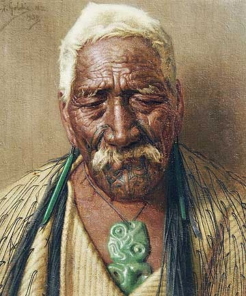 Goldie painting of Rutene Te Uamairangi, a Kingite Warrior of Taupo.