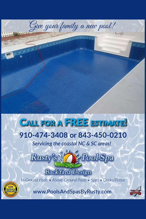 Get A New Pool By Rusty S Pool Spa And Backyard Design In 2020 Deck Maintenance Backyard Design Spa Pool