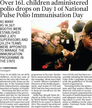 Over 16L children administered polio drops on Day 1 of National Pulse Polio Immunisation Day. #akalidal #punjab #development #parkashsinghbadal #immunisationday #children