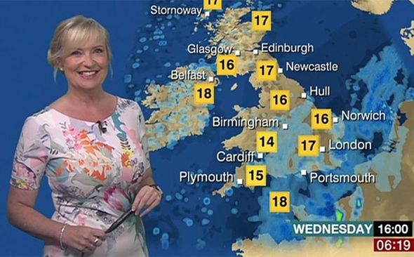 BBC weather BBC Breakfast weather report Carol Kirkwood