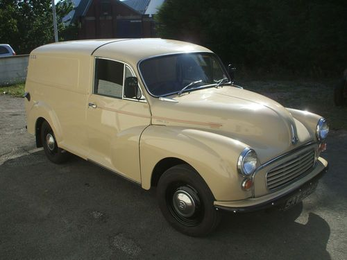 Interesting Modified Morris van. Extended van chassis with GRP rear body fitted. On ebay.
