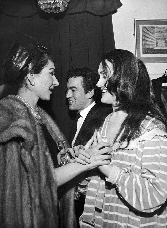 Maria Callas visiting Joan Sutherland and her husband, Richard Bonynge, backstage after performing Donizetti's Lucia di Lammermoor at Covent Garden, London .